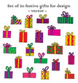 set of 20 festive gifts for design vector image