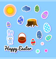 set of easter greeting stickers with bunny vector image