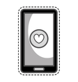 smartphone with heart isolated icon vector image