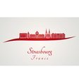 Strasbourg skyline in red vector image