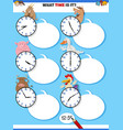 telling time educational task with cartoon farm vector image vector image