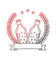two beer bottle drink emblem vector image vector image