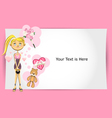 valentine girl greeting card vector image vector image