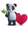 valentines day bear panda holds stalk of bamboo vector image vector image