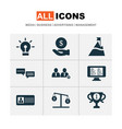work icons set with 5-star review id card hand vector image