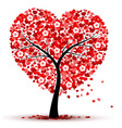 valentines day background with red heart leaves vector image