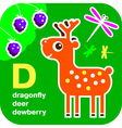 ABC dragonfly deer dewberry vector image vector image