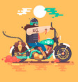 biker riding with racer helmet on motorcycle vector image