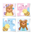 boy or girl gender reveal cute animals cards vector image