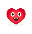 cartoon heart emoticon isolated on white vector image