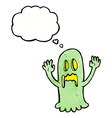 cartoon spooky ghost with thought bubble vector image vector image
