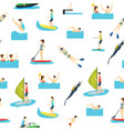 cartoon water sport and characters people seamless vector image vector image