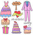 collection of wedding object doodle set vector image vector image