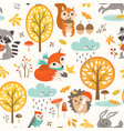 cute autumn rainy pattern vector image vector image