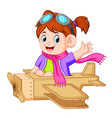 cute girl playing with the airplane toy vector image vector image