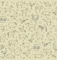 farm animal thin line collection seamless patten vector image