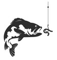fish and a worm on a hook vector image vector image