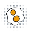 Fried eggs comics icon vector image vector image