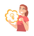 girl holding speech chat bubble with light bulb vector image vector image