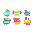 grand opening labels and badges set design vector image vector image