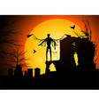 Halloween background with devil vector image