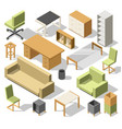 isometric office furniture 3d cabinet with table vector image vector image