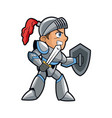 knight character with armor sword shield vector image vector image