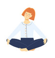 lady in lotus yoga pose meditating relaxing vector image