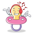 listening music baby pacifier character cartoon vector image