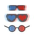Modern 3d cinema glasses set vector image