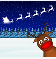 Reindeer peeking sideways in the forest vector image vector image