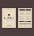 restaurant logo and menu design brochure vector image vector image