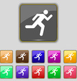 running man icon sign Set with eleven colored vector image vector image