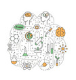 science brain shaped flat line art vector image vector image