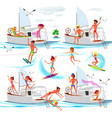set happy adults with different summer vector image