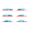 set of city skyline world vector image vector image
