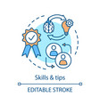 skills and tips concept icon vector image vector image