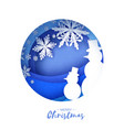 snowman white snowflakes origami paper cut snow vector image
