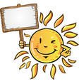 sun cartoon with signboard vector image vector image