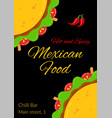 tasty mexican taco food celebration menu template vector image