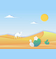 trendy paper cuted style desert landscape vector image vector image