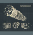 turbojet engine blueprints vector image