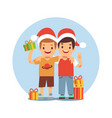 two cartoon boys celebrate christmas and new year vector image