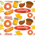 unhealthy processed food pattern with delicious vector image