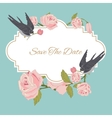 Vintage flowers background with birds vector image
