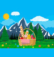 wicker picnic basket full of products and nature vector image vector image