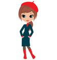 woman cartoon in a coat vector image vector image