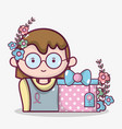 woman with present gift and flowers decoration vector image