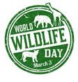 world wildlife day grunge rubber stamp vector image