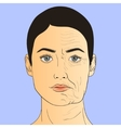 Woman face before and after aging vector image